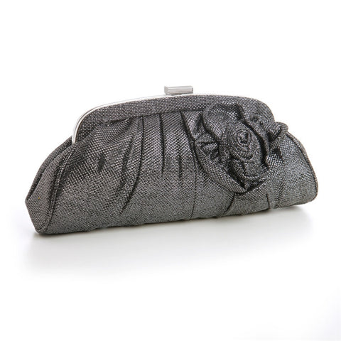 Billowy Soft Pewter Evening Bag with Metallic Thread