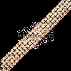 4 Row Crystal Banding (Crystal/Gold; Sold by the Foot)