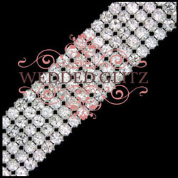 5 Row Crystal Banding (Crystal/Silver; Sold by the foot)