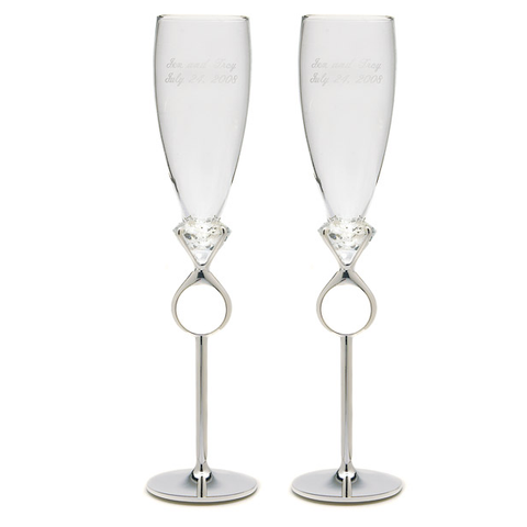 Champagne Flutes: Diamond Ring