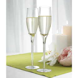 Champagne Flutes: Tube Stem with Loose Crystal Stones