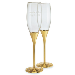 Champagne Flutes: Gold Venetian