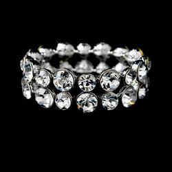 Bracelet - Double Row Round Rhinestones (Stretch)