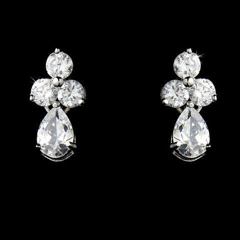 Earrings - Triple Crystal Teardrop CZ