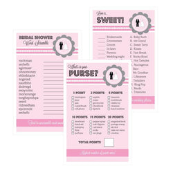 Bridal Shower Games (Set of 10) - Pink