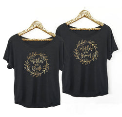 Gold Wreath Mother of The Bride Mother of the Groom Shirt in Black