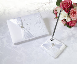 White Lace Guest Book & Pen Set