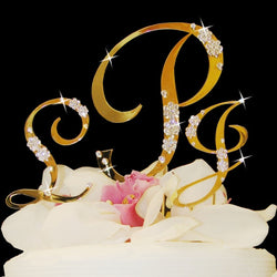 French Flower Triple Monogram Cake Topper Set