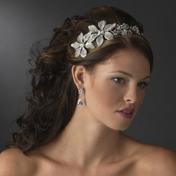 Antique Silver Side Accented Flower Bridal Headpiece