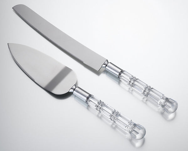 Acrylic Handle Knife & Server Set