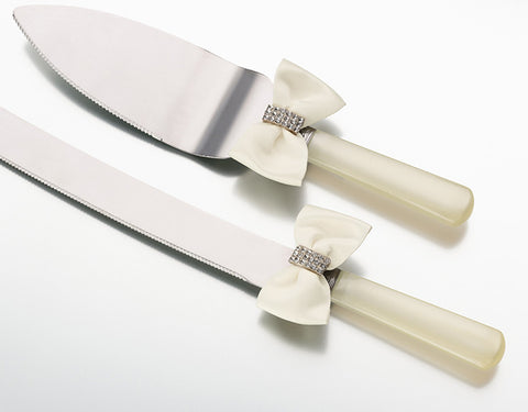 Rhinestone Knife & Server - Ivory