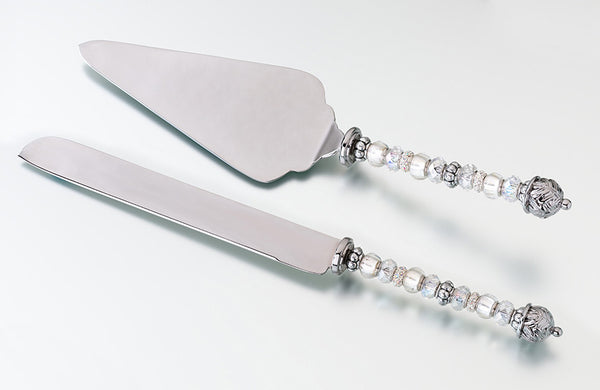 Beaded Knife and Server - Silver