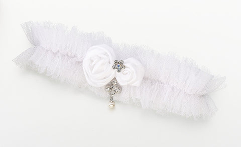 Tulle Garter with Jewel