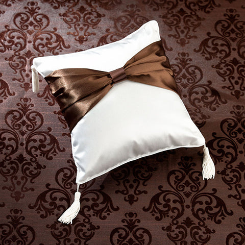Brown Sash Ring Bearer Pillow