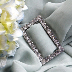 Silver/Crystal Rhinestone Buckle (Rectangle)