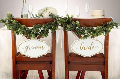 White and Gold Bride & Groom Chair Signs
