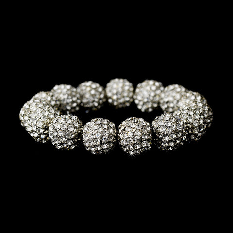 Bracelet - Silver Clear 12mm Pave Ball (Stretch)