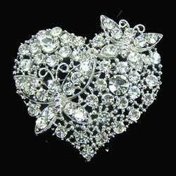 Butterfly Heart Wedding Brooch