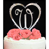 Crystalized Monogram Cake Topper with French Heart