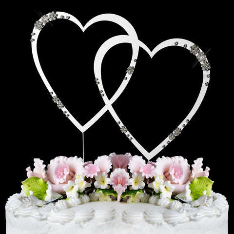 Double Heart Crystal Cake Topper