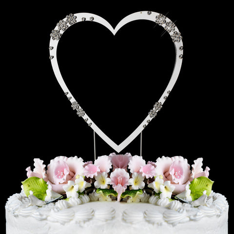 Single Heart Crystal Cake Topper
