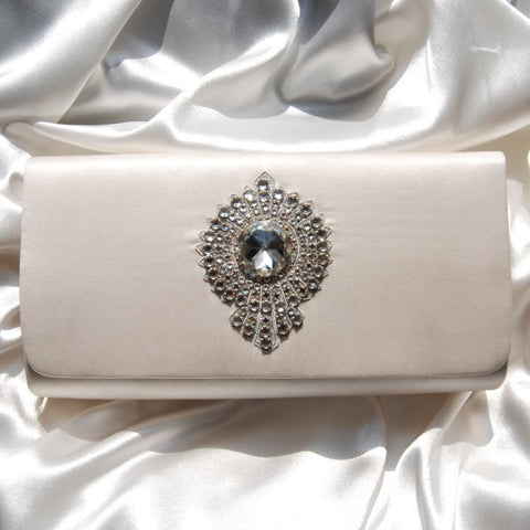 Moyna Handbag: Large Ivory Silk Clutch w/Medallion