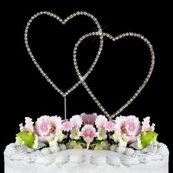 Renaissance Double Heart Crystal Cake Topper