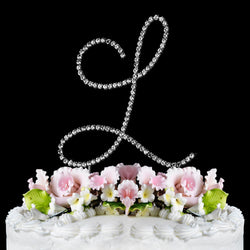 Crystal and Rhinestone Banding and Ribbon Monogram Cake Toppers