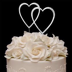 Sparkle Double Heart Swarovski Cake Topper