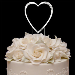 Sparkle Single Heart Swarovski Cake Topper