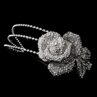 Antique Silver Triple Row Rose Burst Bridal Headbands