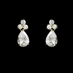Stunning Gold Clear Cubic Zirconia Crystal Drop Earrings