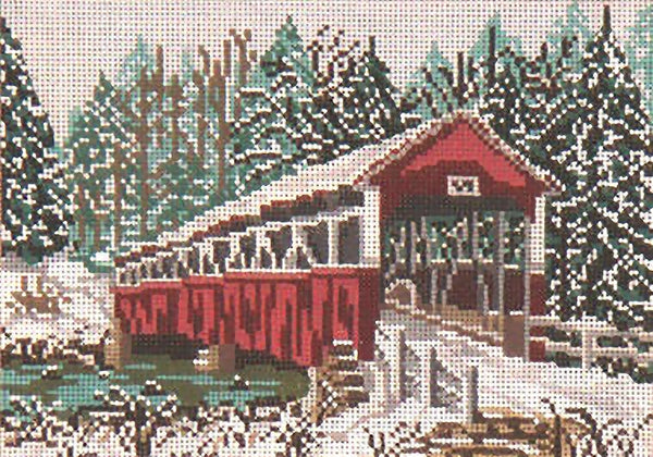 Needlepoint Handpainted Needle Crossings Covered Bridge Barronvale PA