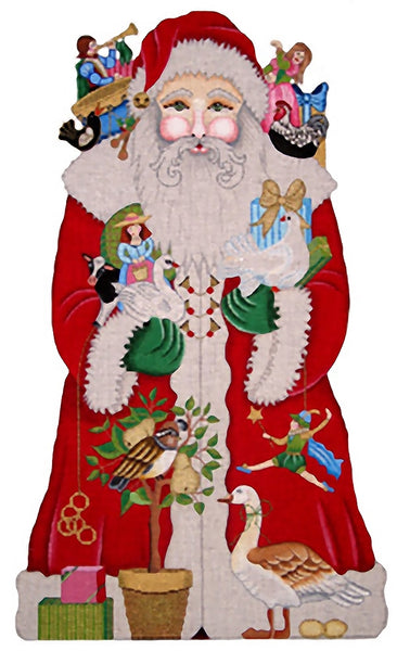 Needlepoint Handpainted Amanda Lawford 12 Days of Christmas Santa 20""