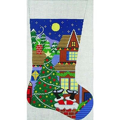 NEEDLEPOINT HANDPAINTED Amanda Lawford Christmas Stocking ROOF TOP SANTA