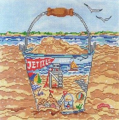 NEEDLEPOINT HandPainted Susan Wallace Barnes BEACH PAIL 18M