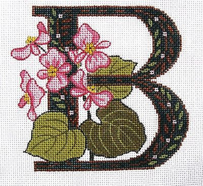 Needlepoint Handpainted Canvas LEE'S Initial LETTER B Begonia 7x7