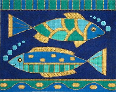 NEEDLEPOINT Handpainted Amanda Lawford Fish Mosaic Fish OCEAN