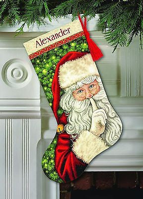 "COUNTED CROSS STITCH Christmas Stocking KIT Secret Santa Dimensions 16"" Long"