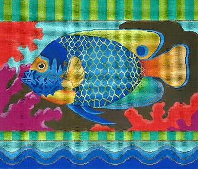 NEEDLEPOINT Handpainted Amanda Lawford Fish Tropical Fish 14x12