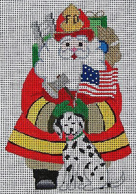 NEEDLEPOINT Handpainted Amanda Lawford CHRISTMAS Fireman Santa DC Designs