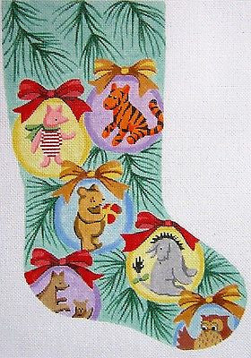 Needlepoint Handpainted Canvas Lee WINNIE POOH in Balls CHRISTMAS Stocking