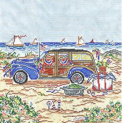 NEEDLEPOINT HandPainted Susan Wallace Barnes 4TH of July WOODY 13M