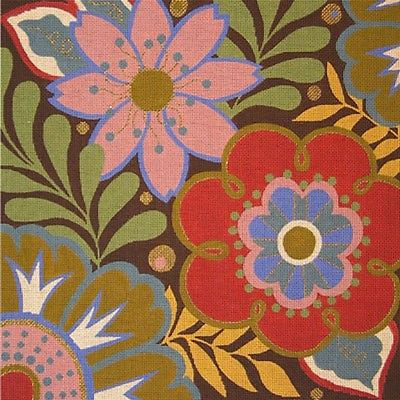NEEDLEPOINT HandPainted Canvas Amanda Lawford FALL HARLEQUIN Flowers 17x17 13M