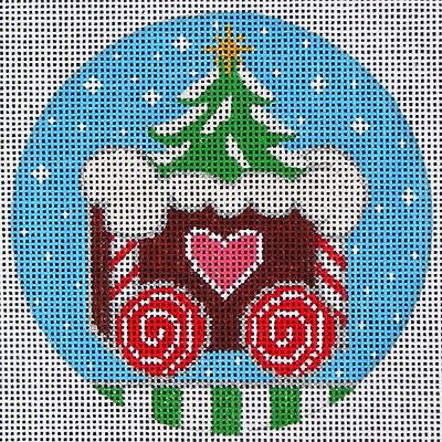 NEEDLEPOINT Handpainted Amanda Lawford CHRISTMAS Ginger TRAIN Caboose DC Designs