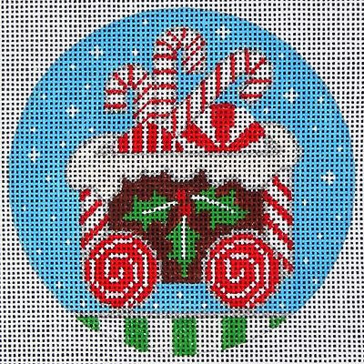 NEEDLEPOINT Handpainted Amanda Lawford CHRISTMAS Ginger TRAIN Cargo DC Designs