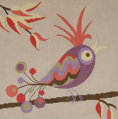 NEEDLEPOINT HANDPAINTED Canvas Machelle Somerville BIRD Shy Violet NEW