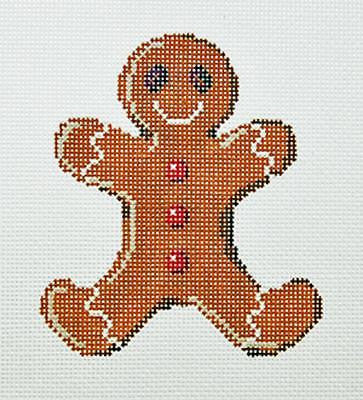 Needlepoint Handpainted SANDRA GILMORE Christmas ORNAMENT Gingerbread Man 3.5x4