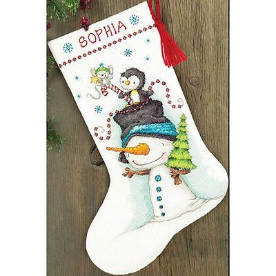 "COUNTED CROSS STITCH Christmas Stocking KIT Jolly Trio Dimensions 16"" Long"