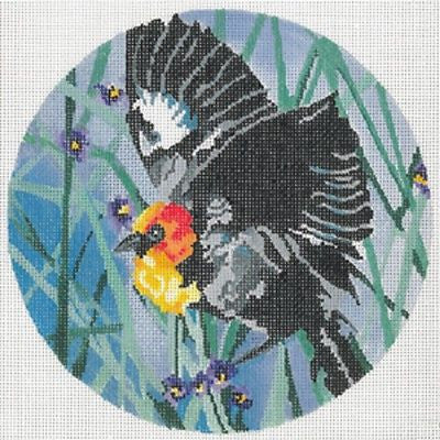 "Needlepoint Handpainted Canvas JOY JUAREZ Yellow Headed Blackbird 7"" 18M"